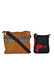 Combo Of Metro Quirky Cross Body Sling With Black Small Sling Bag