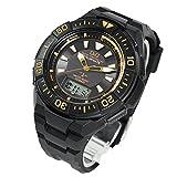 CITIZEN シチズン Q&Q アナデジ 腕時計 電波ソーラー ブラック ゴールド MD06-312
