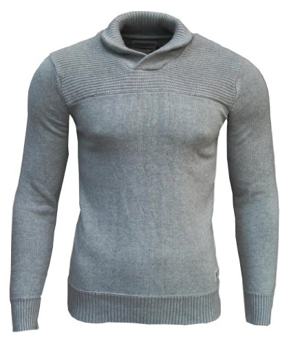 Jack & Jones Men's Shawl Neck Jumper light grey / navy elbow patches Extra Extra Large