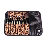 TR.OD 8pcs Women Leopard Makeup Tool Eyeshadow Blusher Lip Gloss Brushes Pouch Case Bag