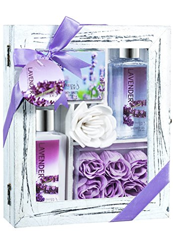Lavender Spa Bath Gift Set in Distress White Wood Curio