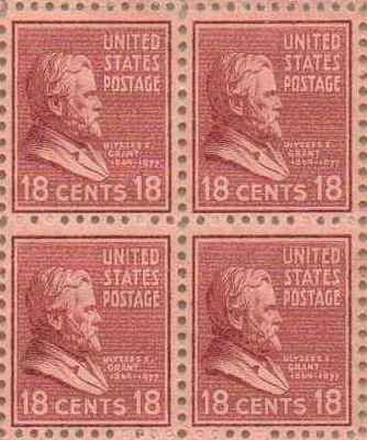 Ulysses S Grant Set of 4 x 18 Cent US Postage Stamps NEW Scot 823