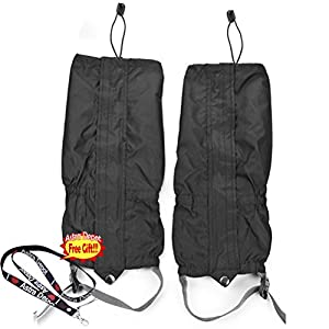 1 Pair Jet Black Unisex Double Sealed Velcro Zippered Closure TPU Strap Waterproof Breathable 400D Nylon Cloth Leg Gaiters Leggings Cover for Rain Winter Outdoor Sports Activities from Boot Cover