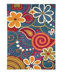 Area Rug, Turquoise Kids Flowers & Paisley Soft Wool Carpet, 5\' X 8\'