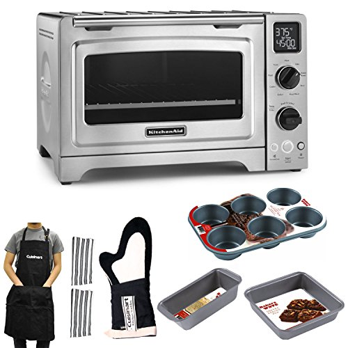 """Kitchenaid 12"""" Convection Countertop Oven (Stainless Steel) With Kitchen Accessory Bundle"""