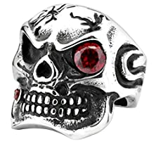 buy Bishilin Stainless Steel Punk Gothic Skull With One Red Eyes Rings Size 8