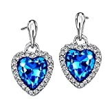 Neoglory Blue Ocean Heart Crystal Drop Earrings Rhinestone Platinum Plated Fashion