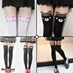 Women Cute Cat Bear Over Knee Socks S...