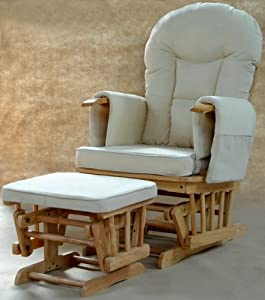 Sereno (Natural) Nursing Glider maternity rocking chair with glide lock and footstool by Kidzmotion