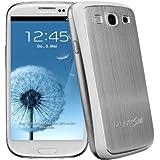 xubix Akkudeckel für Samsung i9300 Galaxy S3 brushed Metall Aluminium - mit weissem Rand Silber / Weiß