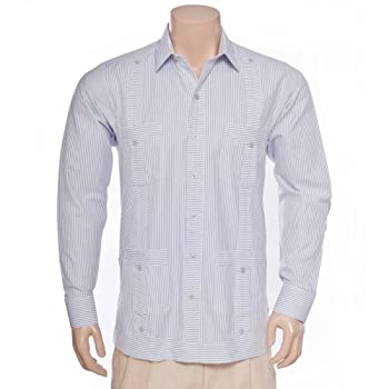 Deluxe Long Sleeve White-Grey Stripped Guayabera, Size L