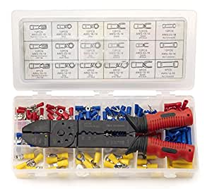 Neiko 50413A Solderless Wire Terminal and Connection Kit with Crimping / Wire Stripping Tool, 175 Pieces