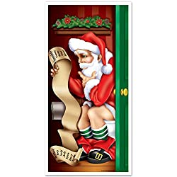 Santa Restroom Door Cover Party Accessory (1 count) (1/Pkg)