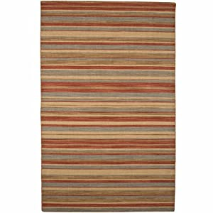 Pura Vida Tamarindo Sea Green / Rust Contemporary Rug