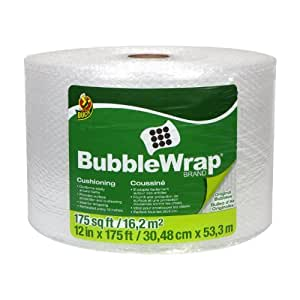 Duck Brand Bubble Wrap Original Protective Packaging, 12 Inches Wide x 175 Feet Long, Single Roll (1053440)