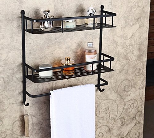 Rozin® Oil Rubbed Bronze Bathroom Storage Holder Dual Tier Cosmetic Shelf with Towel Bar (Bronze Bathroom Storage compare prices)