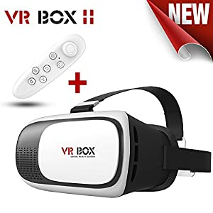 VR Box 2nd Generation Enhanced Version Virtual Augmented Reality Cardboard 3D Video Glasses Headset Compatible with 4.7-6 Inch Android