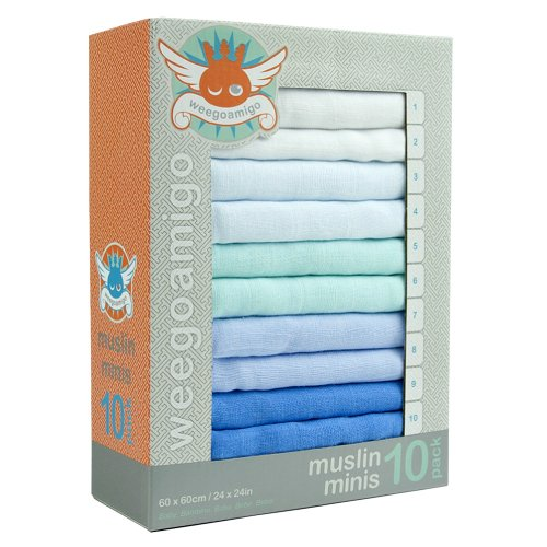 Weegoamigo Mini Muslin Pack - Blue - 1