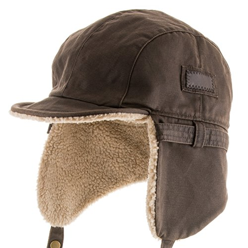 ultrafino-best-pilot-trooper-aviator-cap-faux-leather-hat-ushanka-trapper-winter-all-sizes