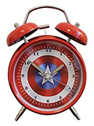 Kids Bedroom Alarm Clock - Bedside - 4 inches Large - Twin Bell Extra Loud - Super Hero Inspired - - Analog Quiet Clocks with Backlight, Battery Operated (Red/ White/ Blue)