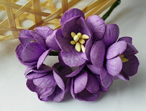 50 Purple Mulberry paper Cherry Blossom Flower Handmade Wedding 2.0 CM