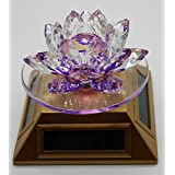 SWS Fengshui Best Quality Auspicious Violet Crystal Lotus Flower Showpiece With Solar Rotate Vase - 8x8x9 Cm (H)