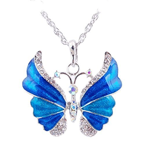 Eyourlife Christmas New Fashion Retro Butterfly Crystal Rhinestone Pendant Necklace Blue (Crystal Butterfly Pendant compare prices)