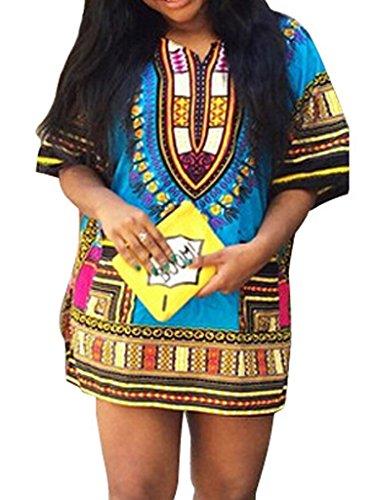 Choies Women's V-neck Mixed Folk Print Plus Size Shift Mini Dress L