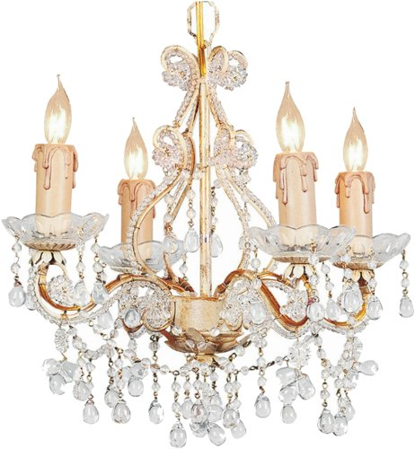 4504-CM-CLEAR Paris Flea Market 4LT Mini-Chandelier, Champagne Finish with Clear Beads