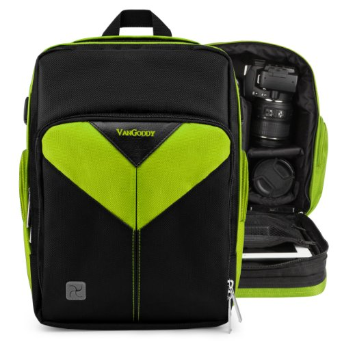 Vangoddy Sparta - Lime Green Black Compact Backpack Dslr Camera & Tablet Case Bag For Canon Eos 5D Mark 3 Iii , 2 Ii