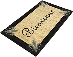 Dii Fleur De Lis Bienvenue Coir Doormat With Vinyl Back Bonjour Doormat Patio
