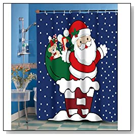Up on the Rooftop Santa Shower Curtain