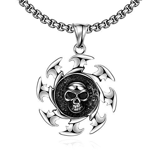 iCAREu Unisex Rock Style Stainless Steel Round Skull Pendant Necklace, 24""