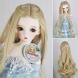 1/3 BJD Doll Wig Khaki Long Loose Wavy High Temperature Synthetic Fiber Princess Hair Wig BJD Doll Wigs for 1/3 1/4 1/6 BJD SD Doll (613C) (Color: 613C)