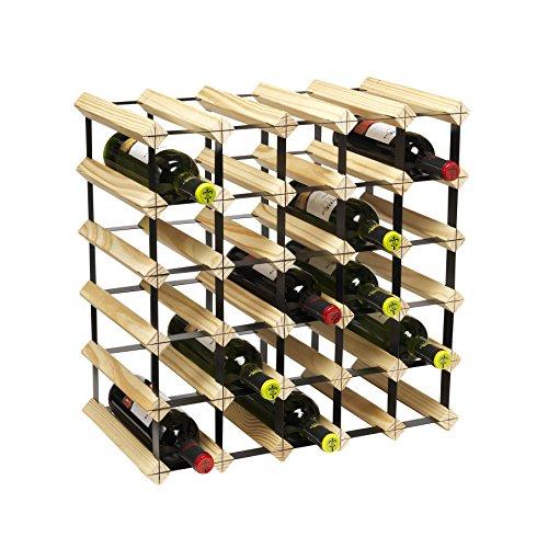 CKB-Ltd-Natural-Wooden-Black-Metal-Stackable-Wine-Rack-Weinregal-Flaschenregal-fr-30-FLASCHEN-Holz-Stapelbar-Erweiterbar-Natrliche-Holz-Black-Metal-Weinregal-Traditionell-einfach-anschlieen-zu-montier