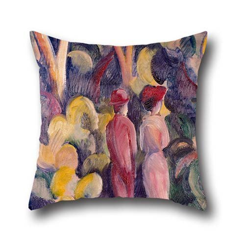 Oil Painting August Macke - Couple On The Forest Track Pillow Cases ,best For Husband,birthday,teens Girls,lover,boys,girls 20 X 20 Inches / 50 By 50 Cm(twin Sides) Spades Tie Dye T-Shirt