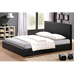 leder bett lederbett schwarz lattenrost in 140x200 cm g stebett polsterbett bond rindsleder. Black Bedroom Furniture Sets. Home Design Ideas