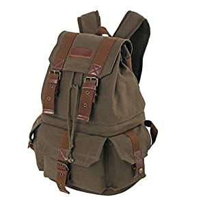 Koolertron Canvas DSLR SLR Camera Shoulder Bag Backpack Rucksack Bag With Waterproof Cover And Inner Padding For Sony Canon Nikon Olympus 45cm x 28cm x 21cm (Coffee Green)