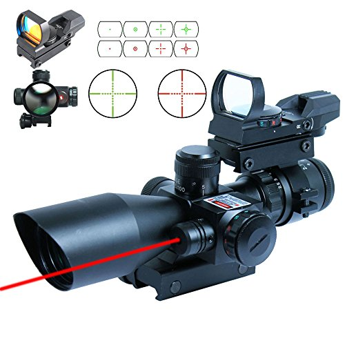 Lowest Price! Ledsniper®2.5-10x40 Tactical Rifle Scope w/ Red Laser & Holographic Green / Red D...