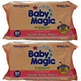 Baby Magic Gentle Baby Wipes, Refill Or Travel Pack With 80 Wipes (Pack Of 2 Total 160 Wipes) By Baby Magic