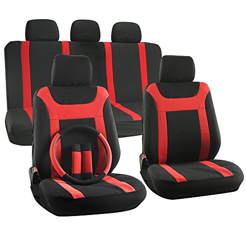 OxGord 17pc Set Flat Cloth Mesh Red & Black Y Stripe Seat Covers Set - Airbag Compatible - Front Low Back Buckets - 50/50 or 60/40 Rear Split Bench - 5 Head Rests - Universal Fit for Car, Truck, Suv, or Van - FREE Steering Wheel Cover (2013 Toyota Corolla S Seat Covers compare prices)