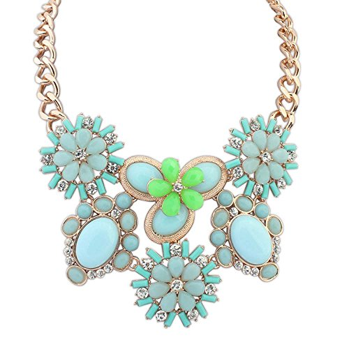 The Starry Night Oval Petal Pure And Fresh Sweet Candy Color Gold Plated Flower Green Statement Necklace For Womens Girls