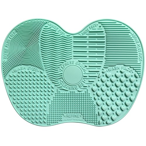 Makeup Brush Cleaner, VAKO MakeUp Brush Cleansing Mat, Portable Silicone Brush Cleaner, Travel Brush Cleaner pad, Cosmetic Brush Scrubber for both Eye and Face Brushes. (Green) (Face Scrubber Sephora compare prices)
