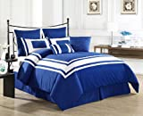 Cozy Beddings Lux Décor 8-Piece Comforter Set, Queen, Royal Blue with White Stripe