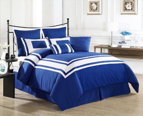 Cozy Beddings Lux Décor 8-Piece Comforter Set, California King, Royal Blue With White Stripe