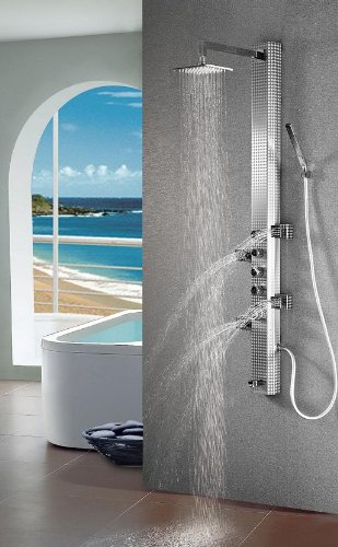 Art of Bath DB-8007 Wall Mount Easy Connection 60 Stainless Steel Bathroom Shower Panel System w/ Rainfall Head, 4 Massage Jets Sprays, and Spout (Swiveling Shower Head compare prices)
