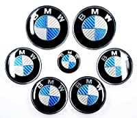 Bmw Blue Silver Carbon Fiber Emblem Badge Logo For Hood Front Trunk Rear 82mm 323 Inch 2 Pins At The Back Steering Wheel Sticker 45mm 177 Inch Wheel Center Hub Caps 4pcs Totally 7pcs