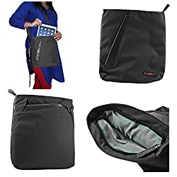 DMG CoolBell Soft Canvas Sling Bag Carrying Case with Accessory Pockets for Samsung Galaxy Tab S2 T810 9.7in Tab (Black)