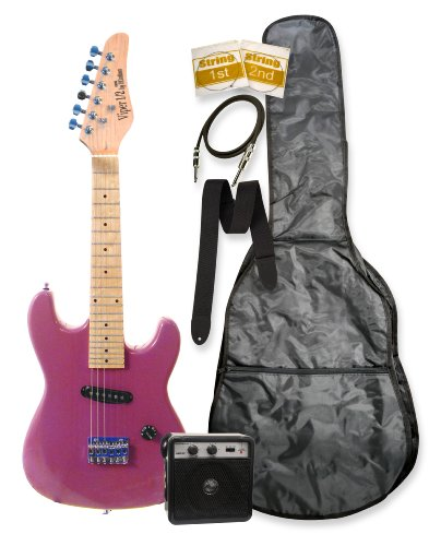 "32"" Junior Kids Mini 1/2 Size Electric Starter Guitar And Amplifier Pack With Free Gig Bag And Accessories Metallic Purple & Directlycheap(Tm) Translucent Blue Medium Guitar Pick"