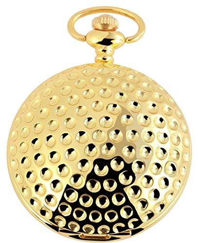 Tavolino Orologio Da Tasca Quarzo Bianco Oro Golf Ball Metallo Analogico